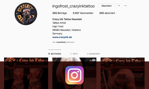 Instagram-Profil von Crazy Ink Tattoo Neuwied